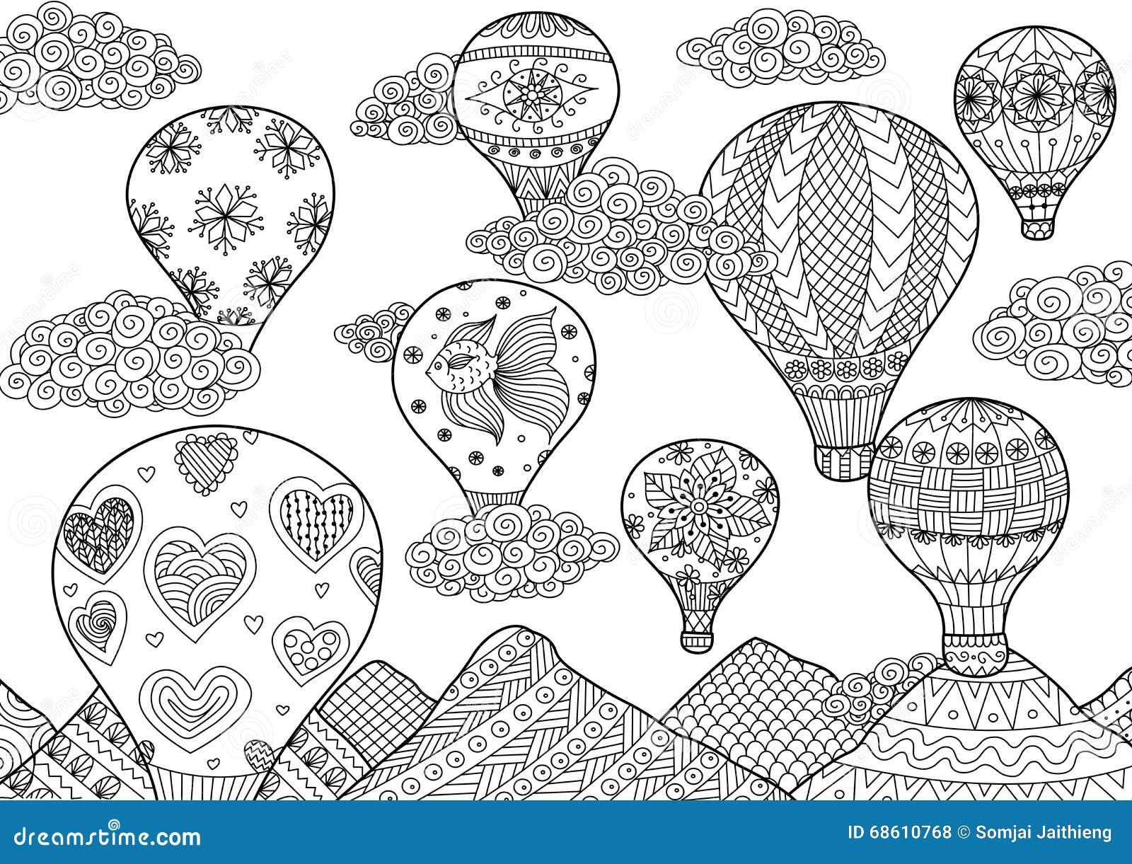 Heißluftballonfliegen, Zentangle Stilisierte Für Malbuch Für ...