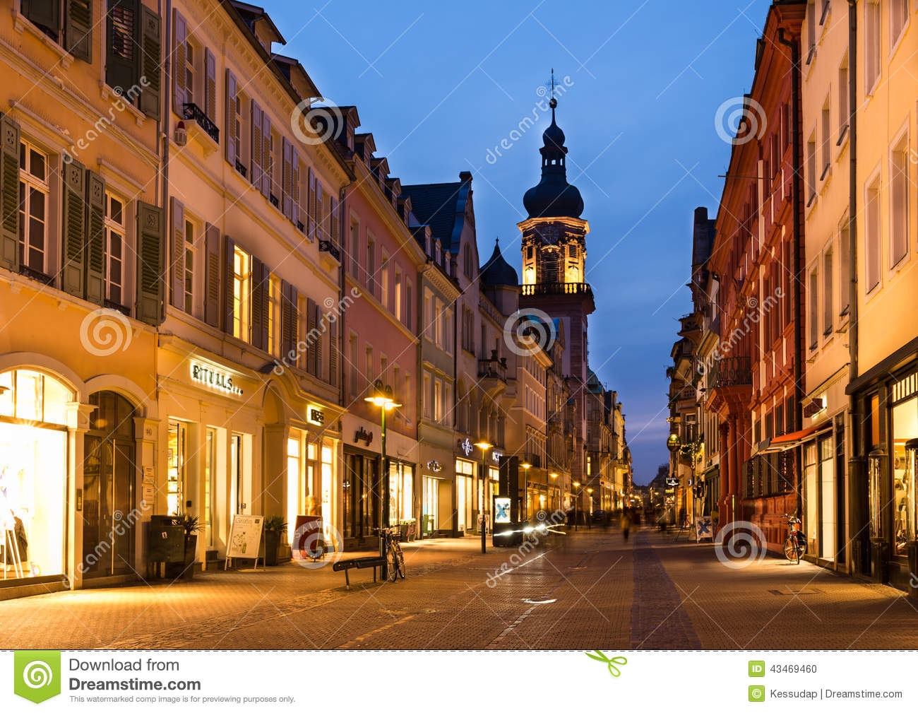 heidelberg germany jan 30 the night scene of shopping street editorial image image of. Black Bedroom Furniture Sets. Home Design Ideas