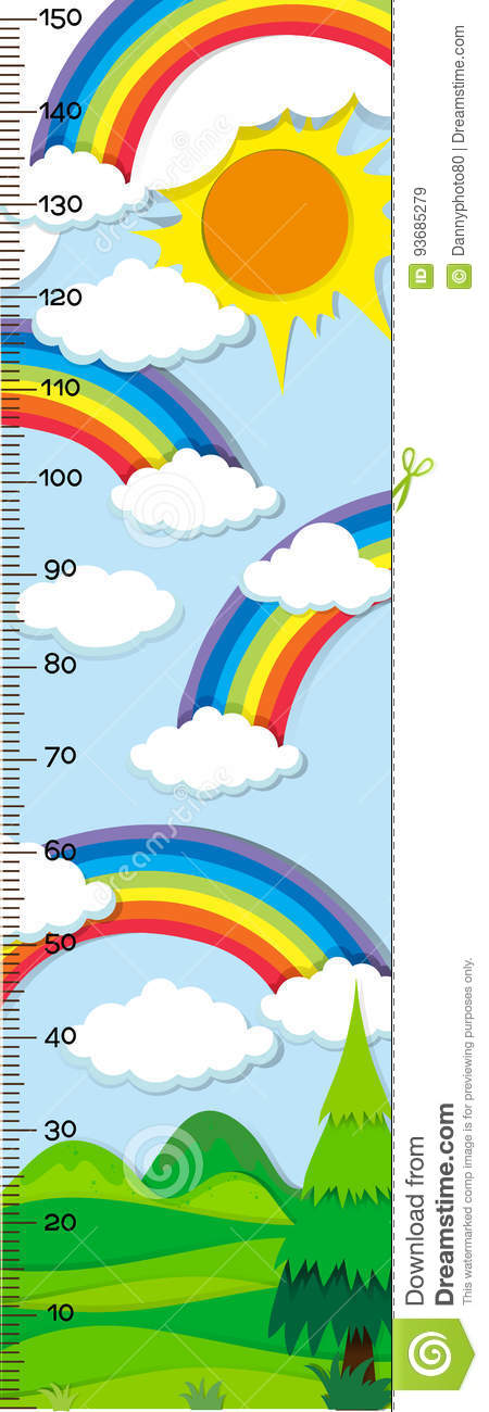 Height measurement chart with rainbow in background