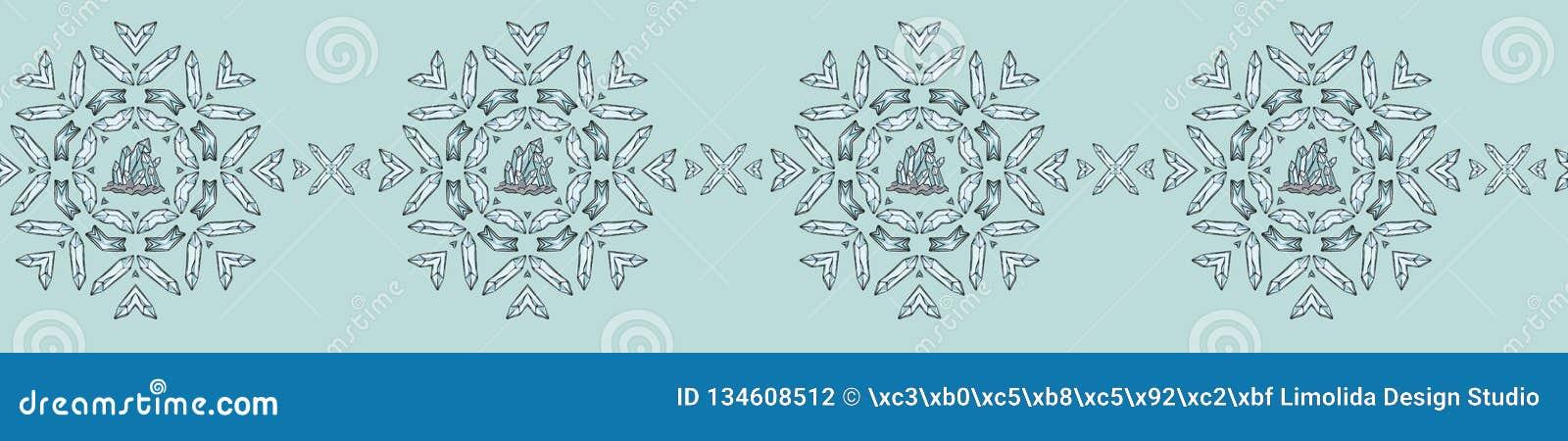 Heilig Esoterisch Kwarts Crystal Magic Hand Getrokken Naadloze Vectorgrens