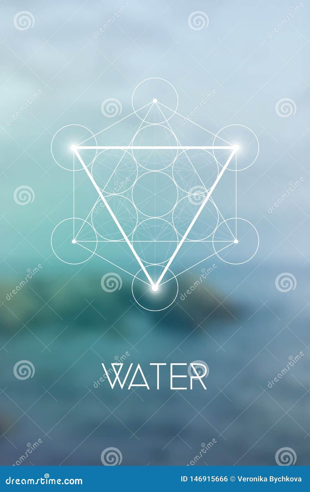 Heilig het elementensymbool van het meetkundewater binnen Metatron-Kubus en Bloem van het Leven voor natuurlijke onscherpe achter