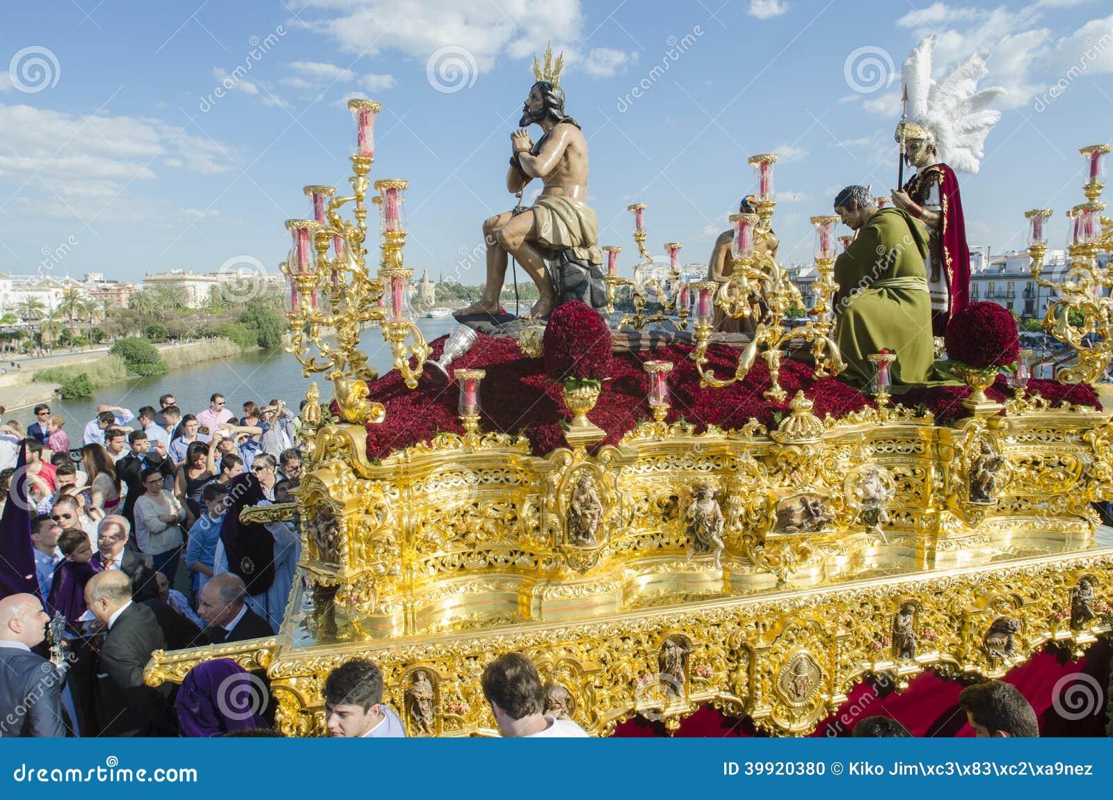 Heilige Week Engels Sevilla Redactionele Afbeelding