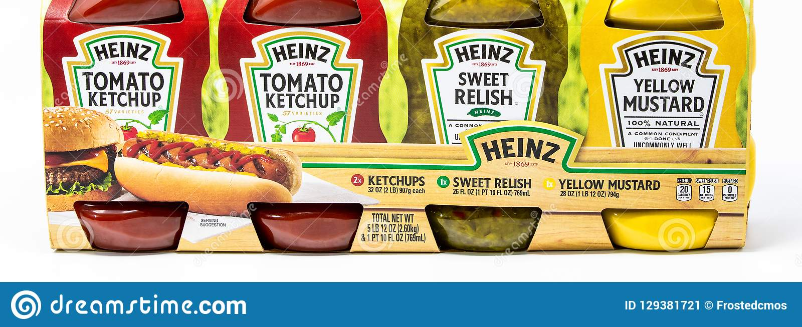 Heinz brand ketchup, yellow mustard and sweet relish