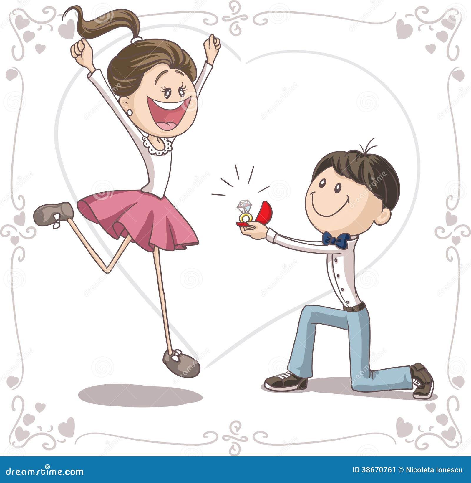 Heirat Antrag Vektor Karikatur Vektor Abbildung Bild