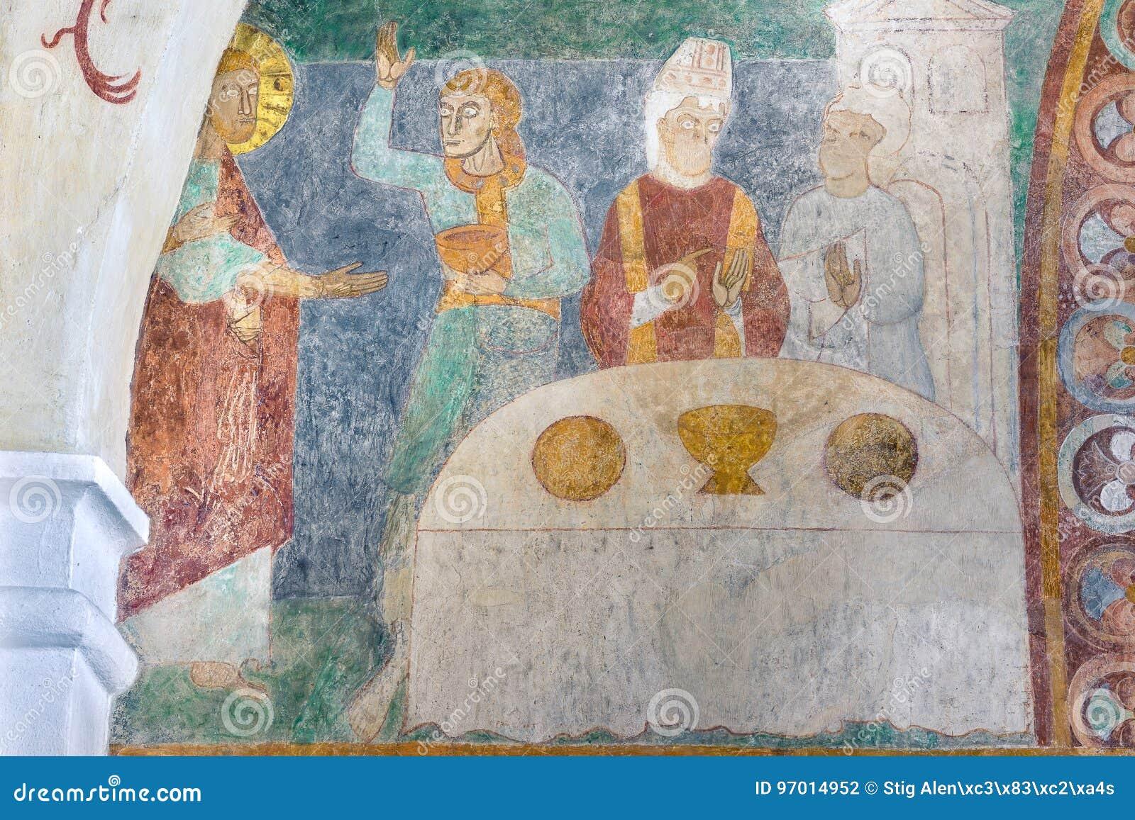Heirat bei Cana, ein altes Romanesquefresko in einem dänischen churc