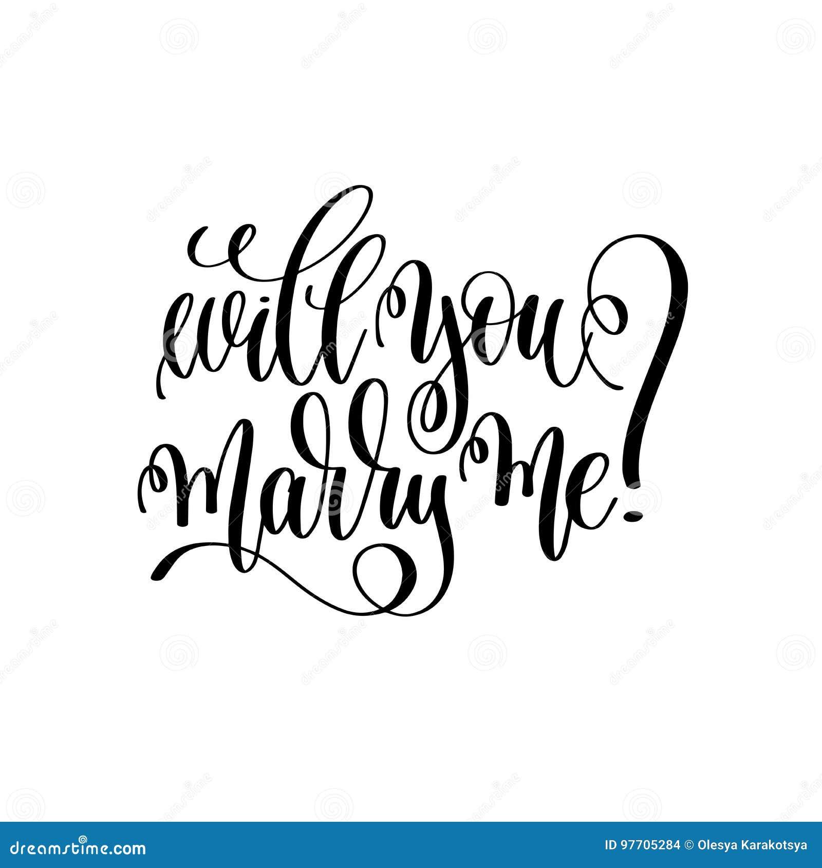 Heiraten Sie Mich - Schwarzweiss-Handbeschriftungsskript