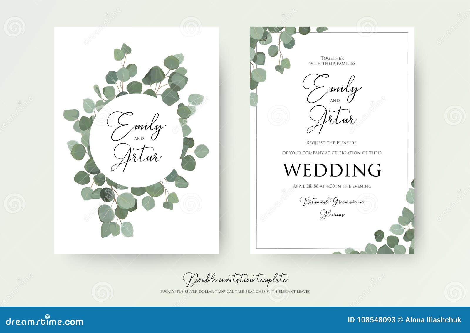 Heiratendes Blumenaquarellartdoppeltes laden, Einladung, sparen das Datumskartendesign mit netten Eukalyptusbaumasten mit Grün ei