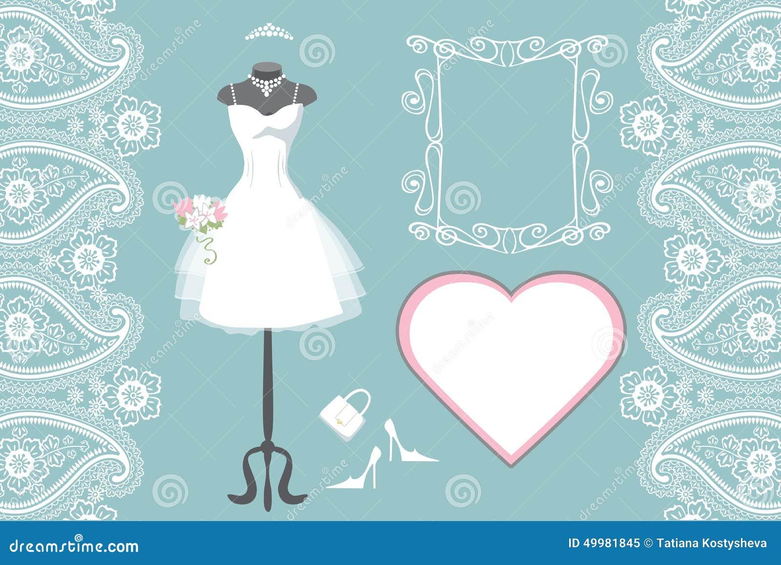 Heiratendes Brautkleid Mit Rahmen, Aufkleber, Paisley Vektor ...