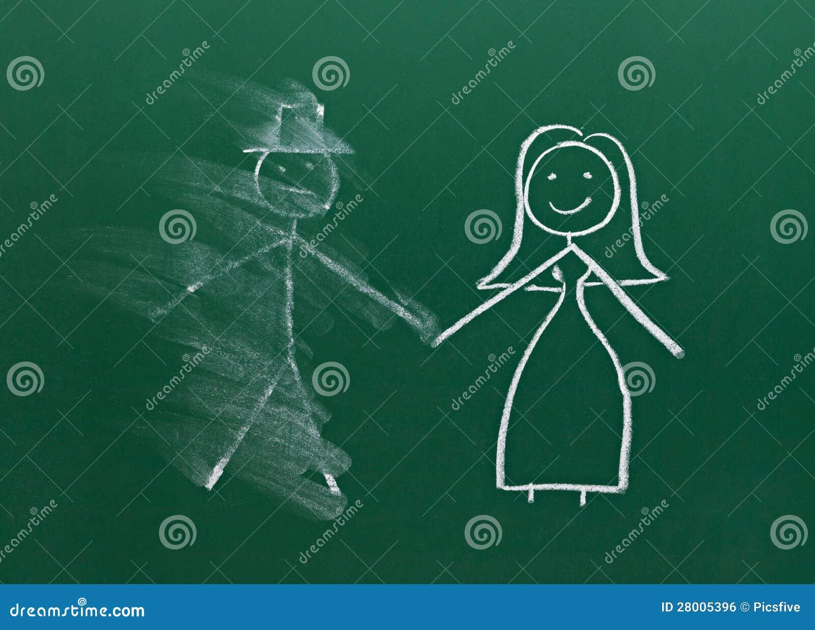 Heiratpaarzeichnung auf Kreidevorstandscheidung brechen oben befleckt