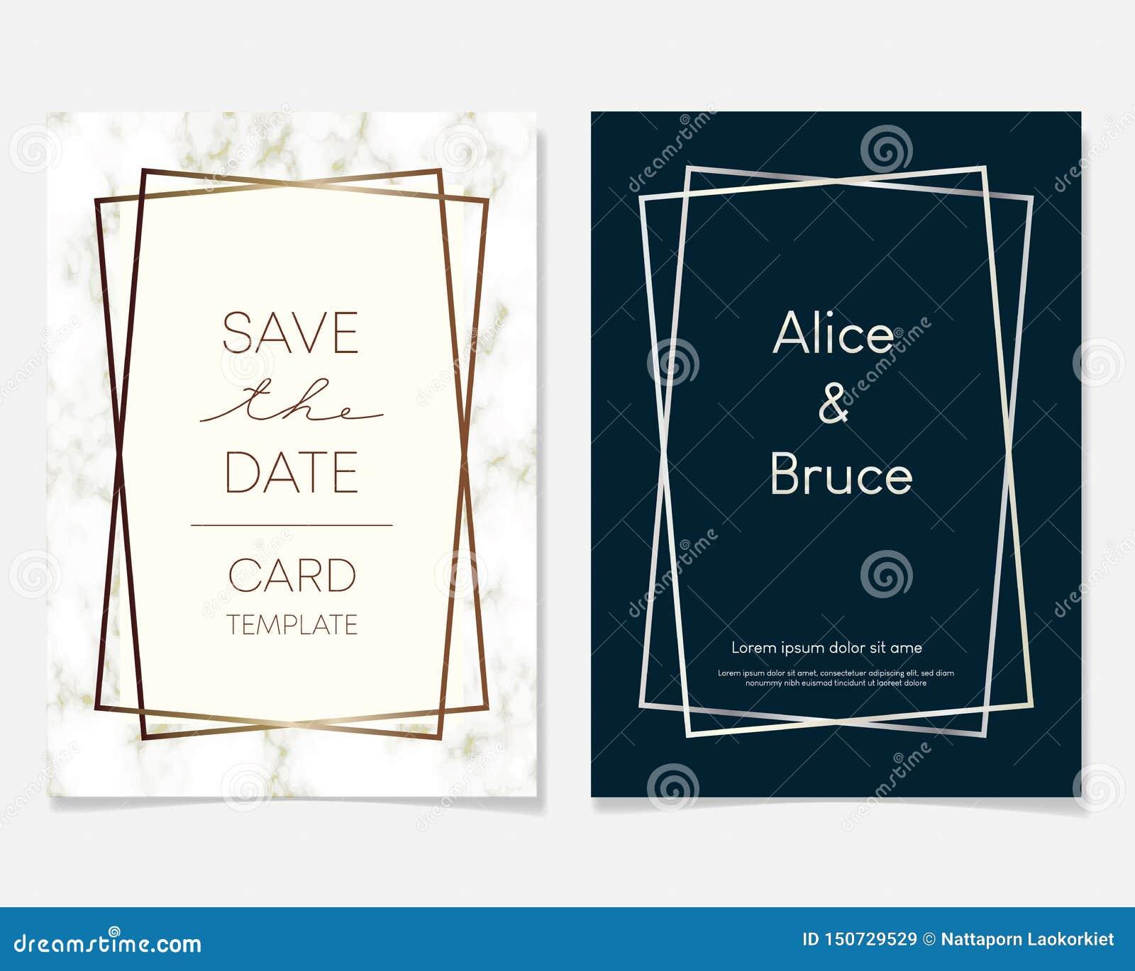 Heiratseinladungskartenentwurf mit goldenen Rahmen und Marmorbeschaffenheit Luxusmarmor mit Goldgeometrischer Rahmen-Entwurfsscha