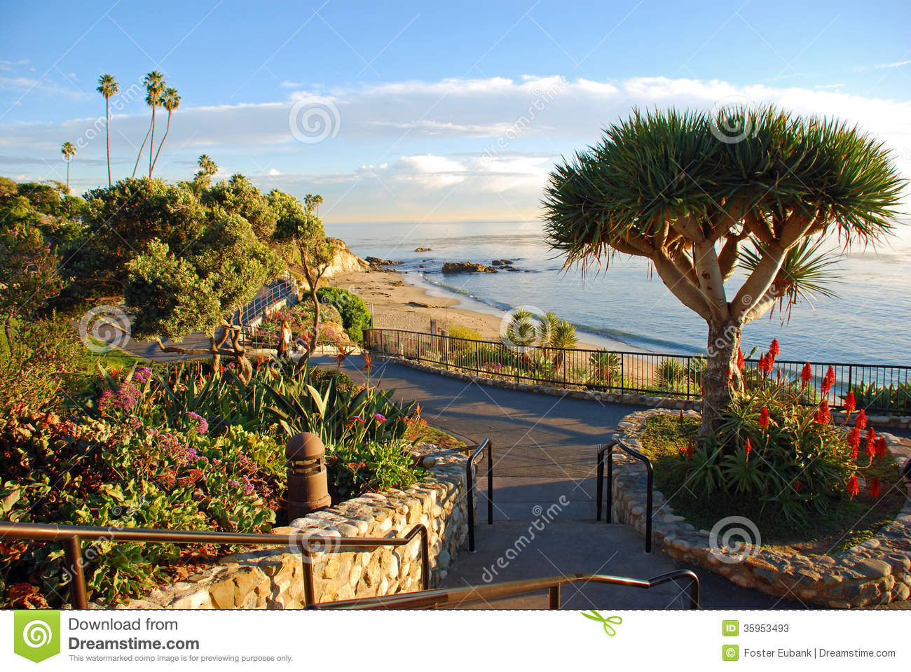 Heisler Park S Landscaped Walkways Above Divers Cove Beach Area Laguna Beach California Stock