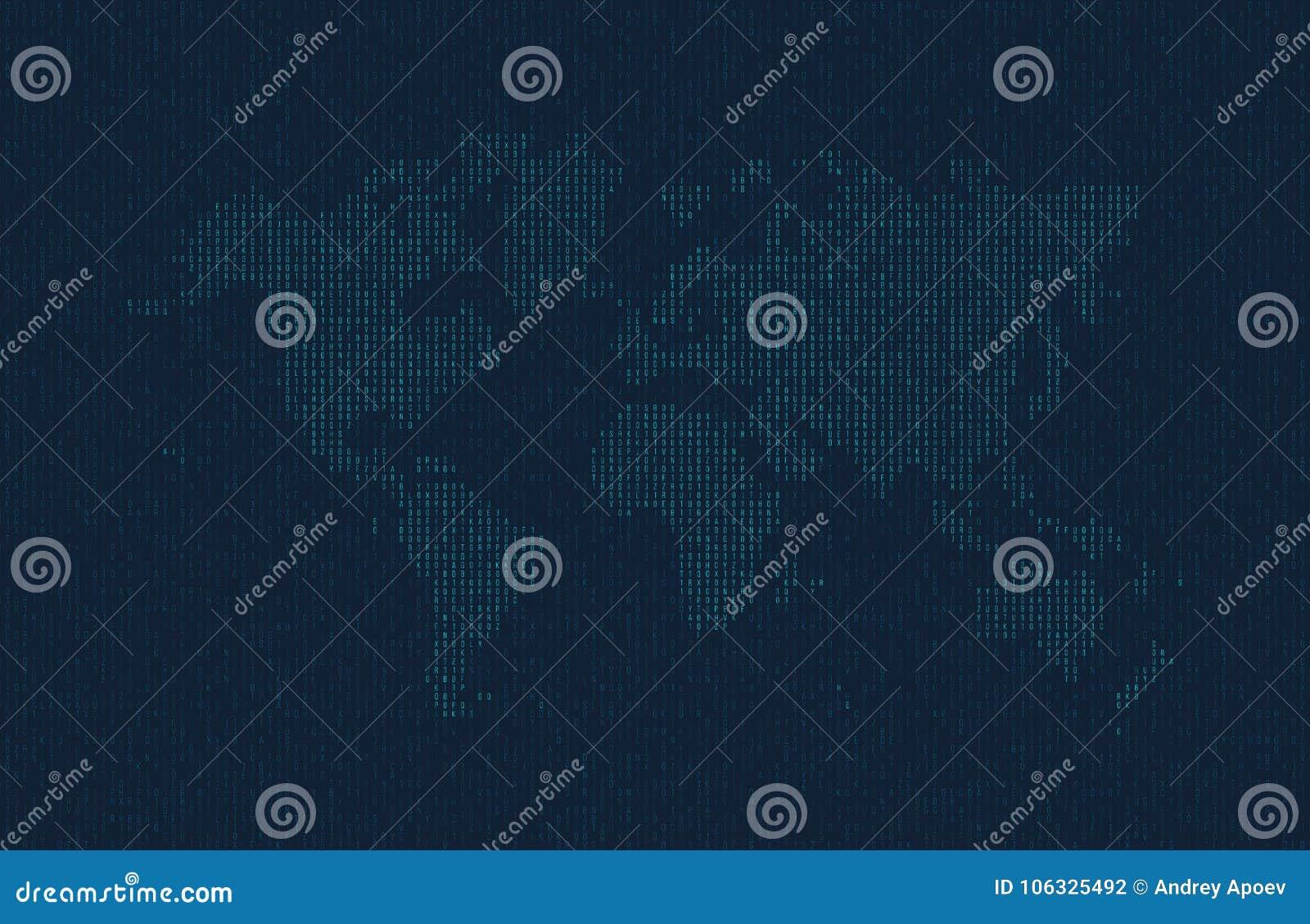 Heksadecymalny komputerowy kod w postaci sylwetki światowa mapa Błękitni symbole na ciemnym tle
