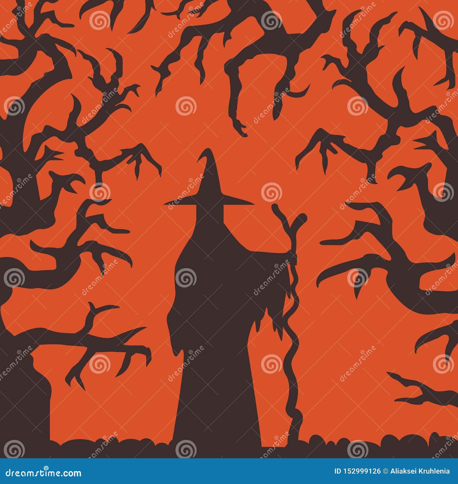 Heksensilhouet die zich in Achtervolgd Forest Scene bevinden