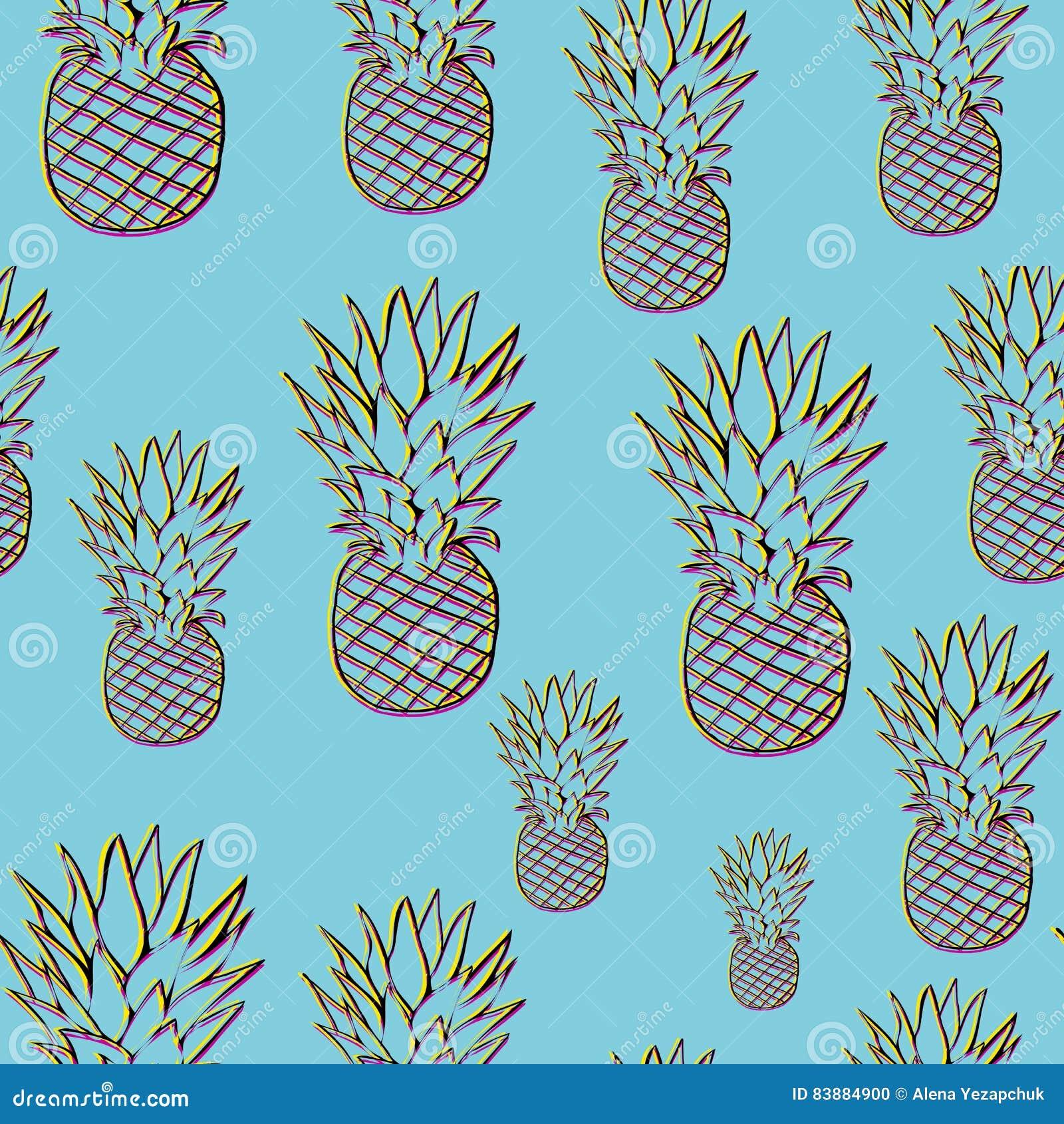 Helder ananaspatroon in 3d stijl