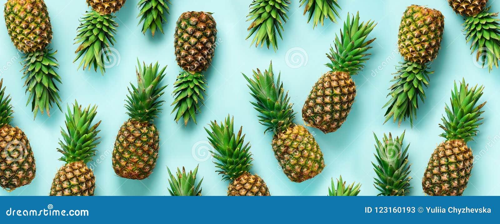Helder ananaspatroon voor minimale stijl Hoogste mening Pop-artontwerp, creatief concept De ruimte van het exemplaar banner vers