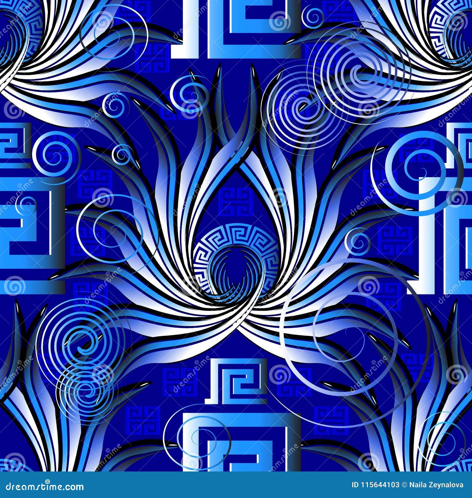 Helder blauw Grieks abstract vector naadloos patroon Moderne ornam