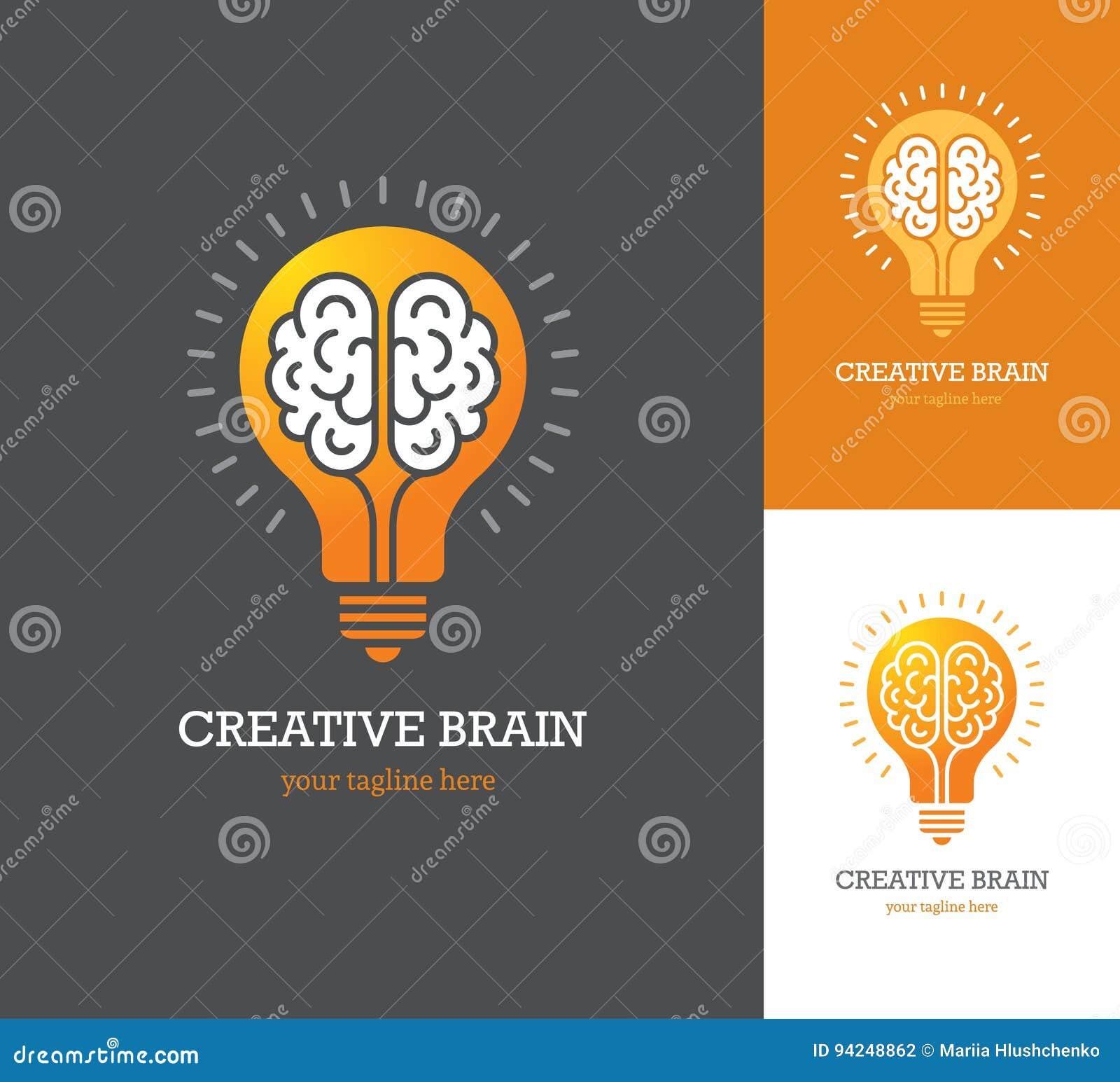 Helder embleem met lineair hersenenpictogram binnen een gloeilamp