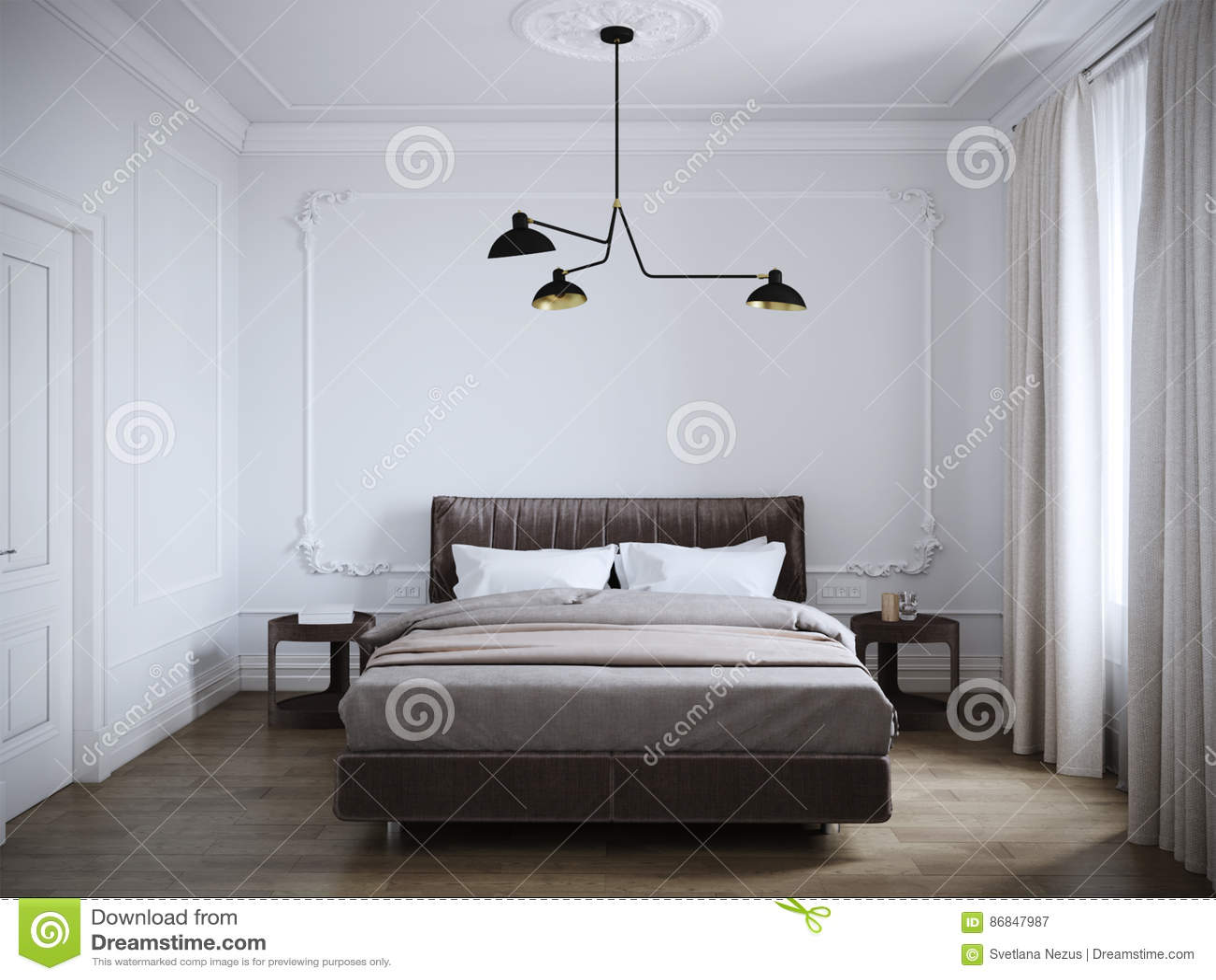 Helder En Comfortabel Modern Slaapkamer Binnenlands Ontwerp Met ...