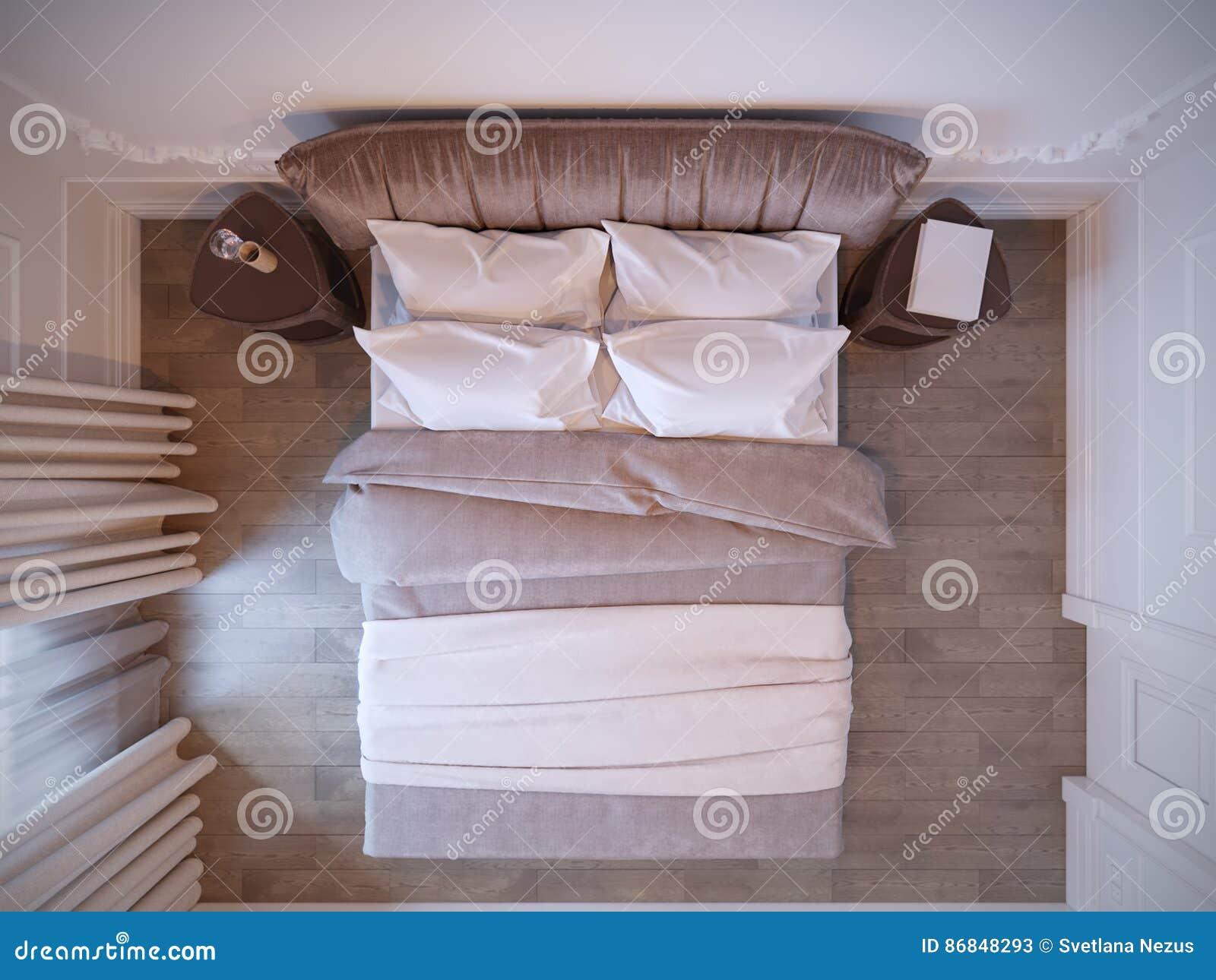 Helder en comfortabel modern slaapkamer binnenlands ontwerp met
