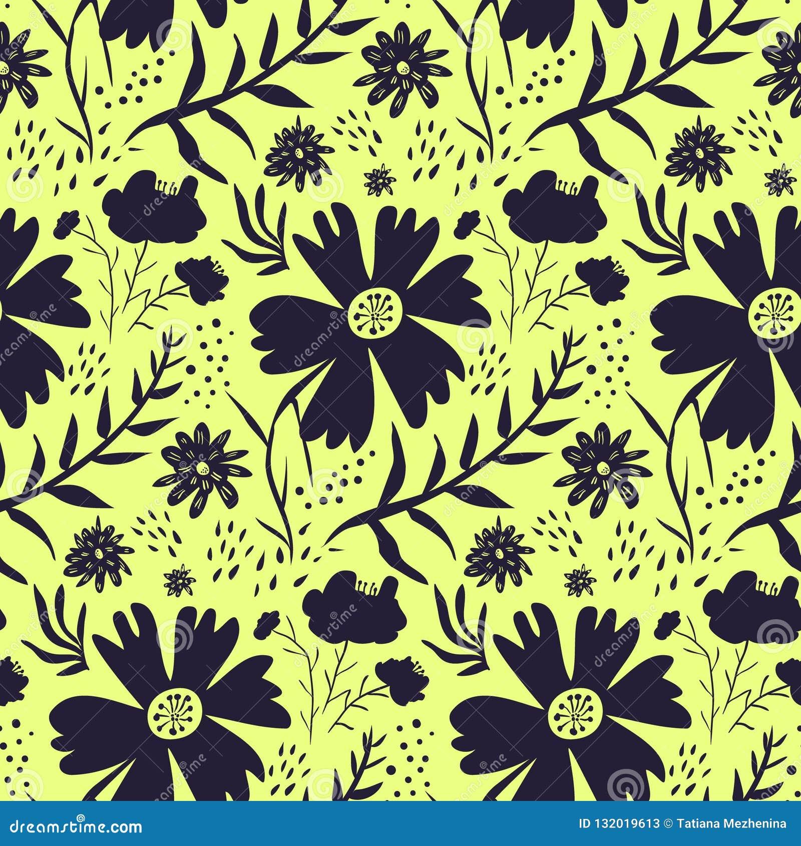 Helder geel en zwart bloemenpatroon