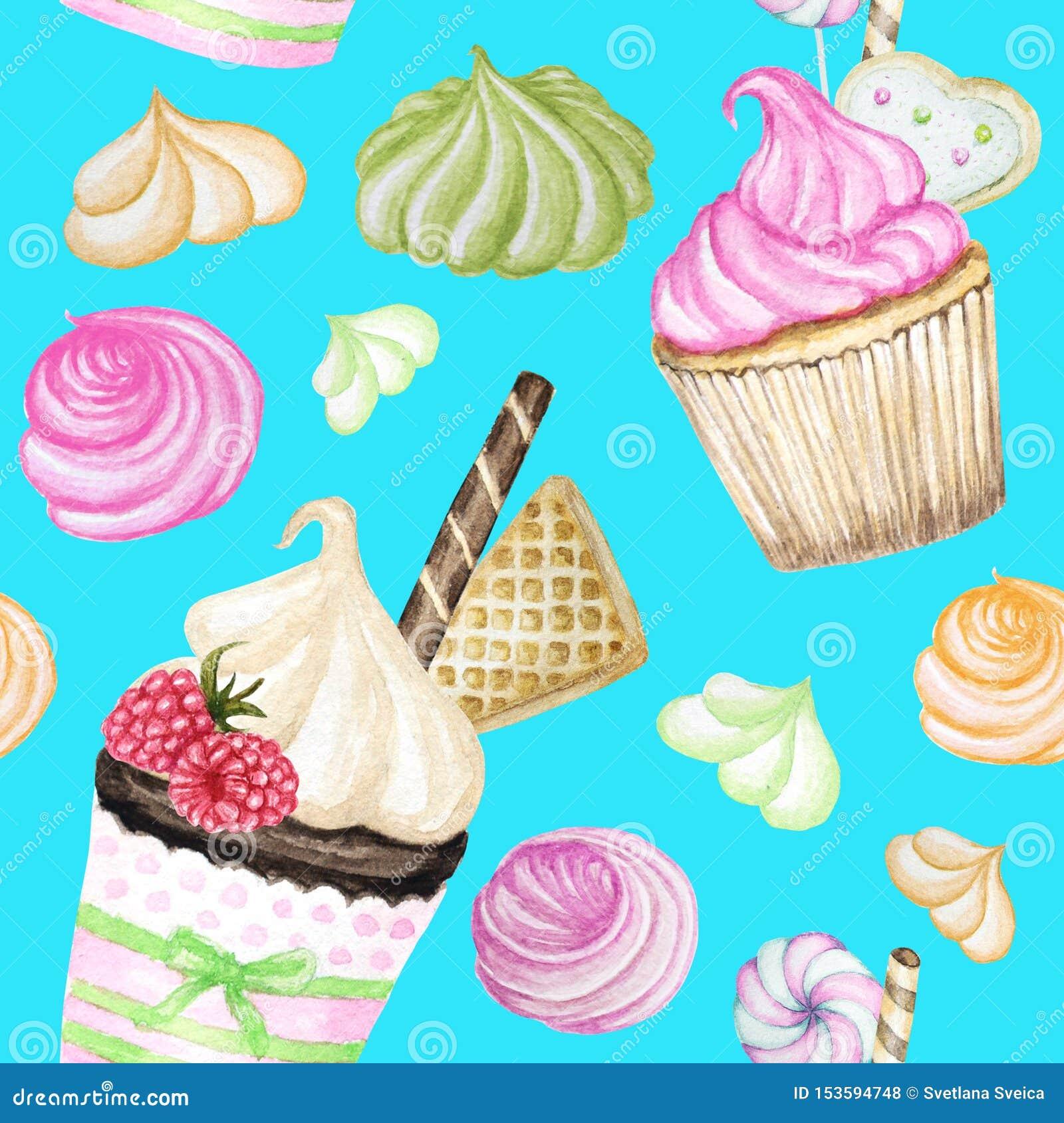 Helder kleurrijk Zoet heerlijk waterverf Naadloos patroon met cupcakes Geïsoleerde elementen op heldere blauwe achtergrond