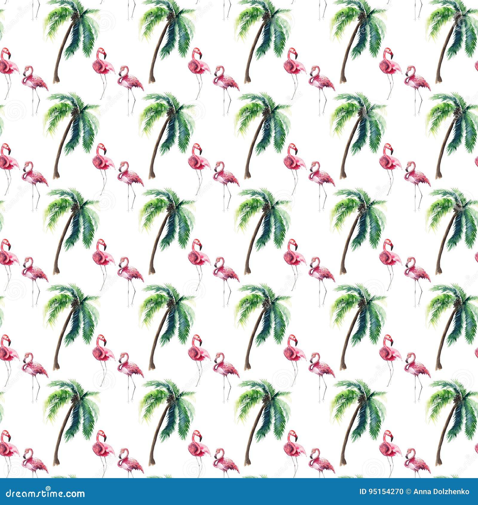 Helder mooi teder zacht verfijnd prachtig tropisch de zomerpatroon van Hawaï van groene palm en roze flamingo swatercolo