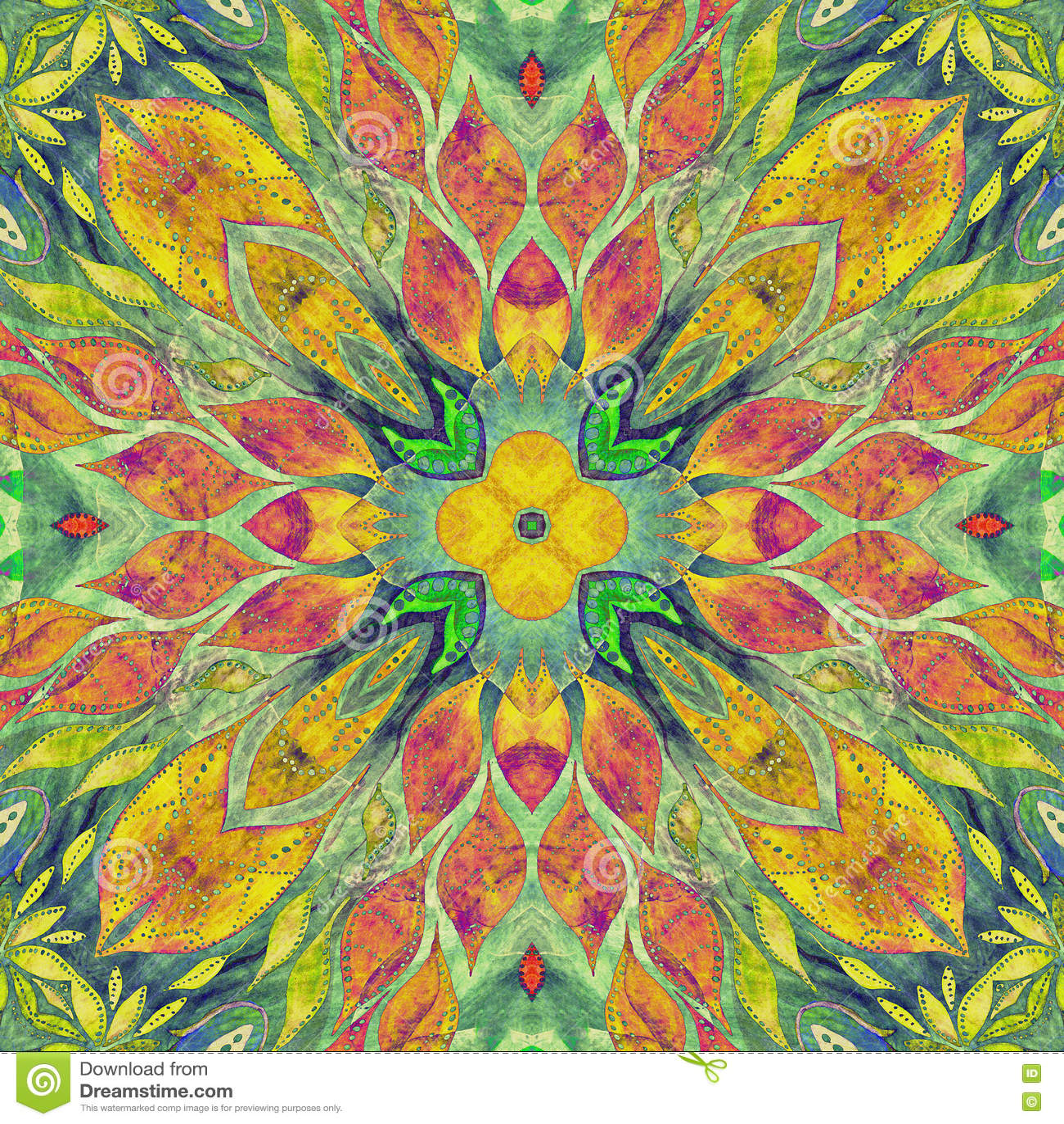 Helder naadloos kleurrijk ethiek Indisch patroon Collage met hand - gemaakte waterverfvlekken, bloemblaadjes, bladerenbloemen Bat