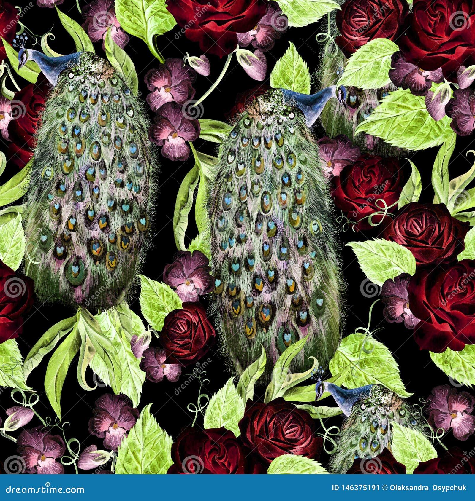 Helder waterverf naadloos patroon met viooltje en rozenbloemen, pauwvogel