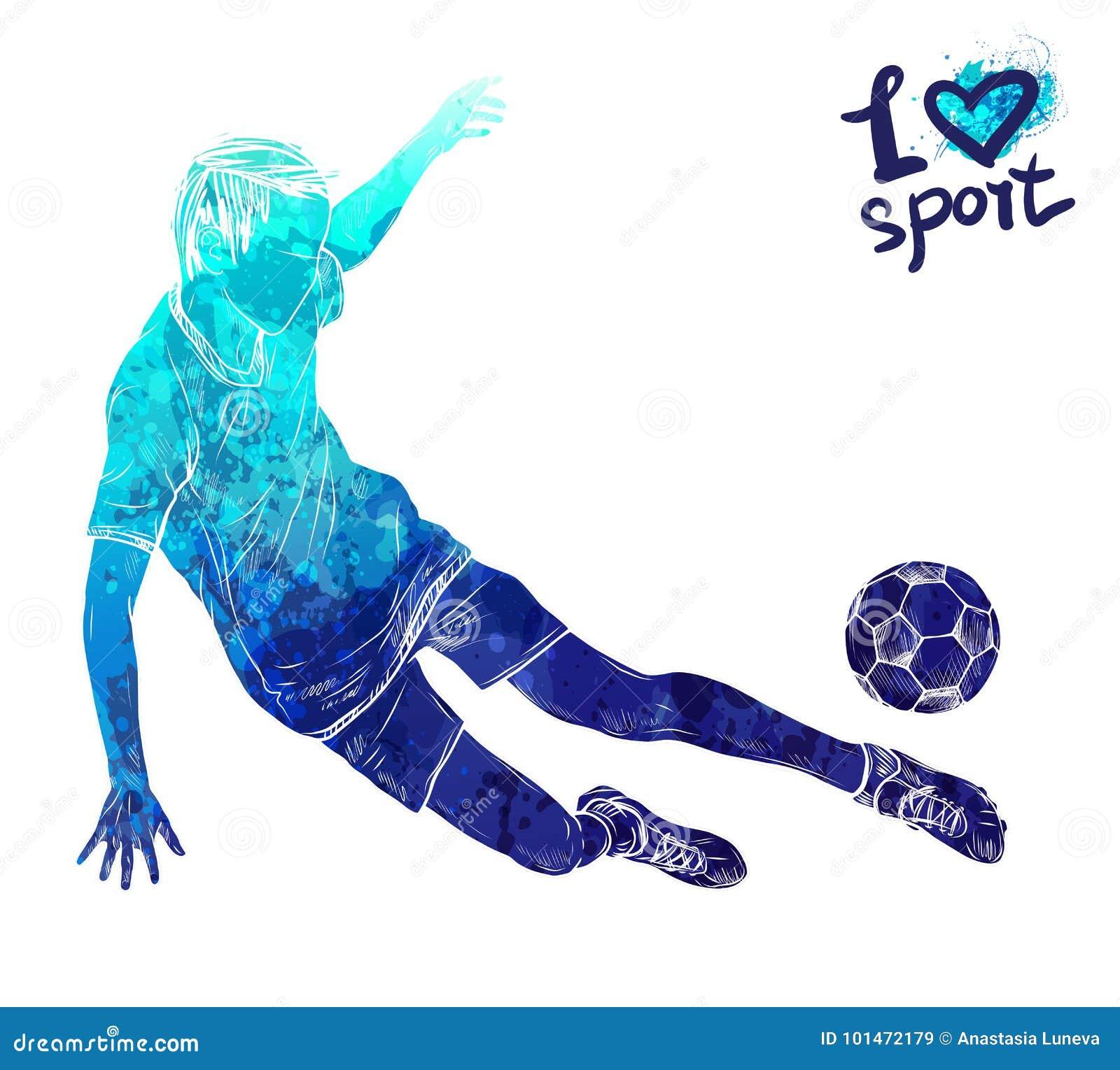 Helder waterverfsilhouet van voetballer met bal Materiaal voor bescherming van speler Grafisch cijfer van de atleet