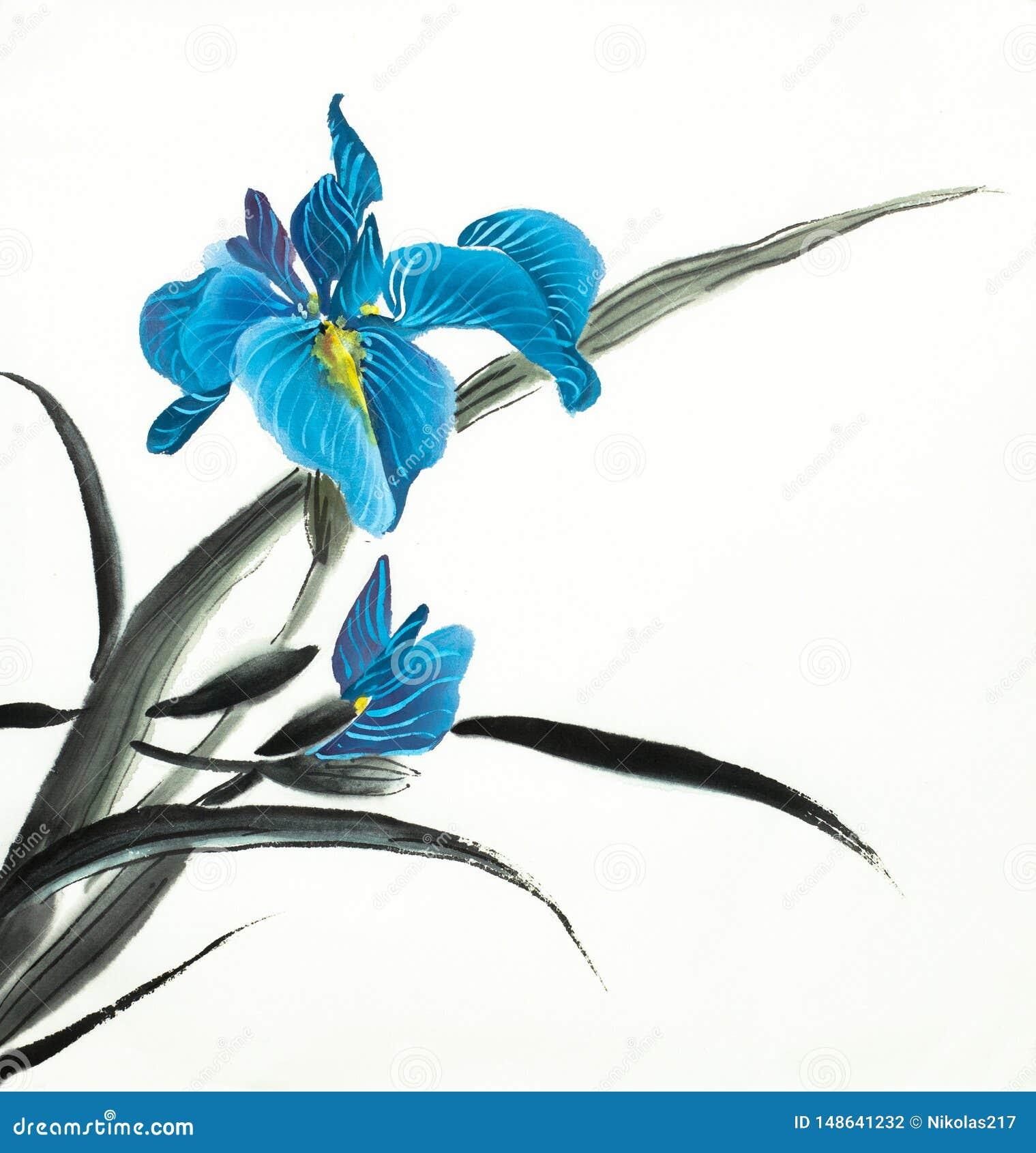 Heldere blauwe irisbloem