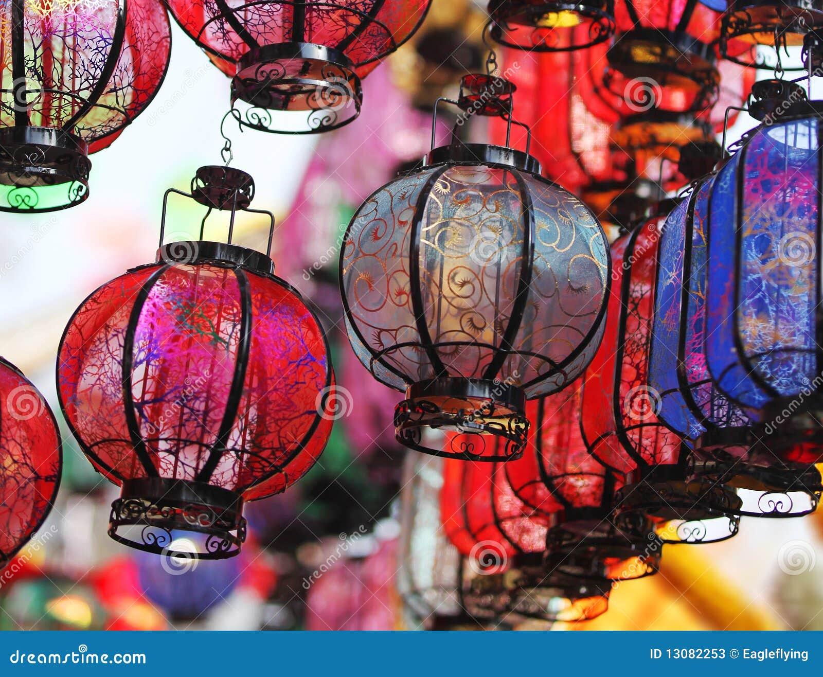 Heldere Chinese lantaarns