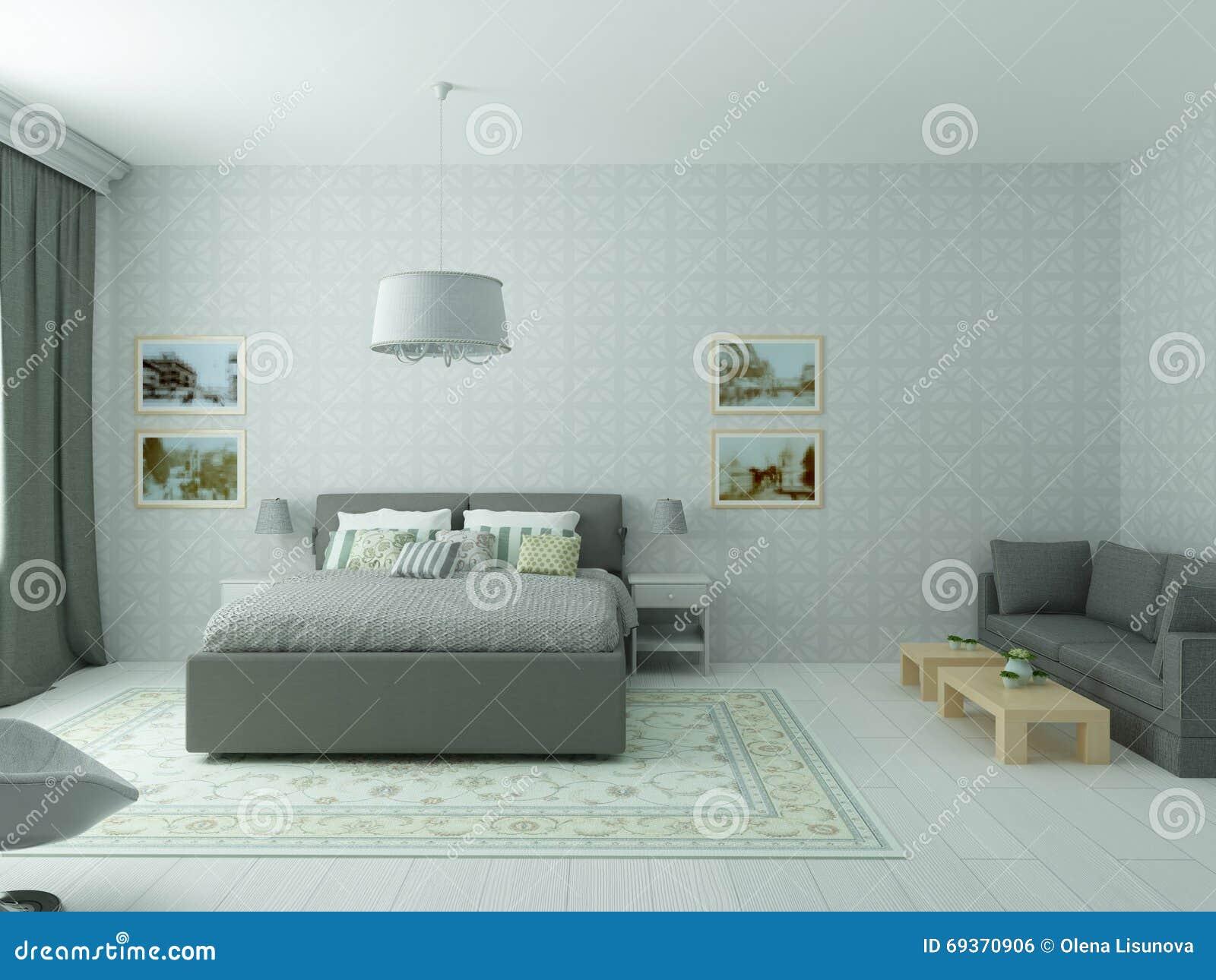 Heldere comfortabele slaapkamer in klassieke moderne stijl en ...