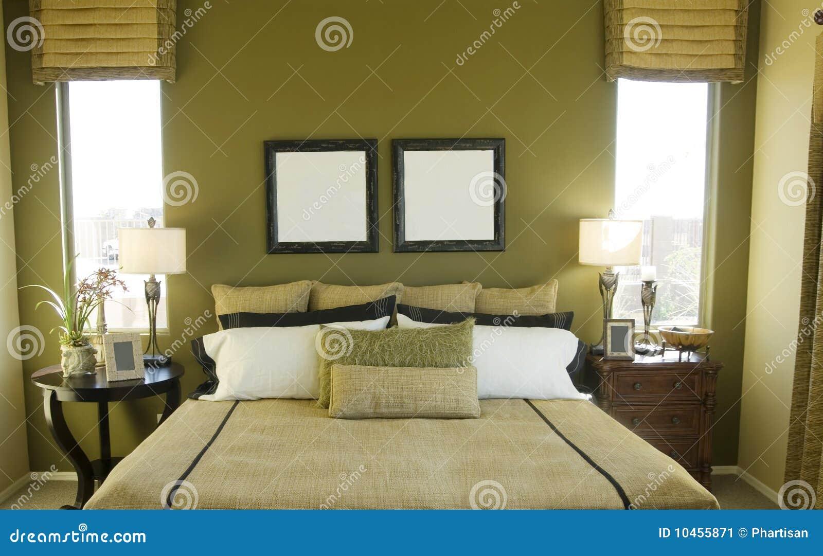 Groene moderne slaapkamer royalty vrije stock fotografie ...