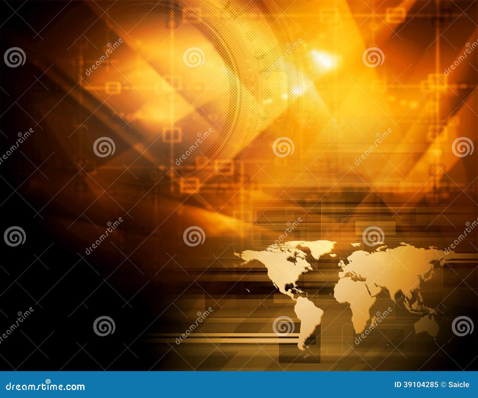 Heldere oranje technologieachtergrond