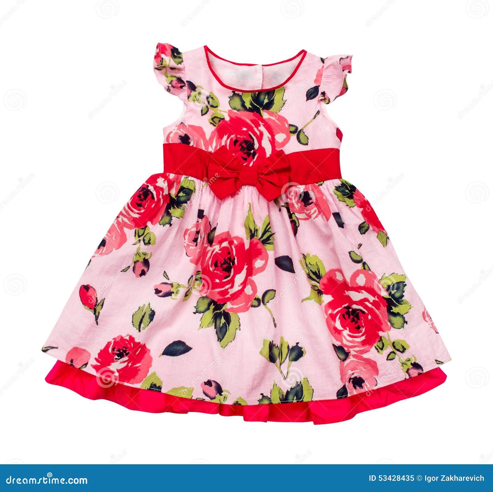 Babykleding Roze.Heldere Roze Babykleding In Bloemendruk Stock Afbeelding