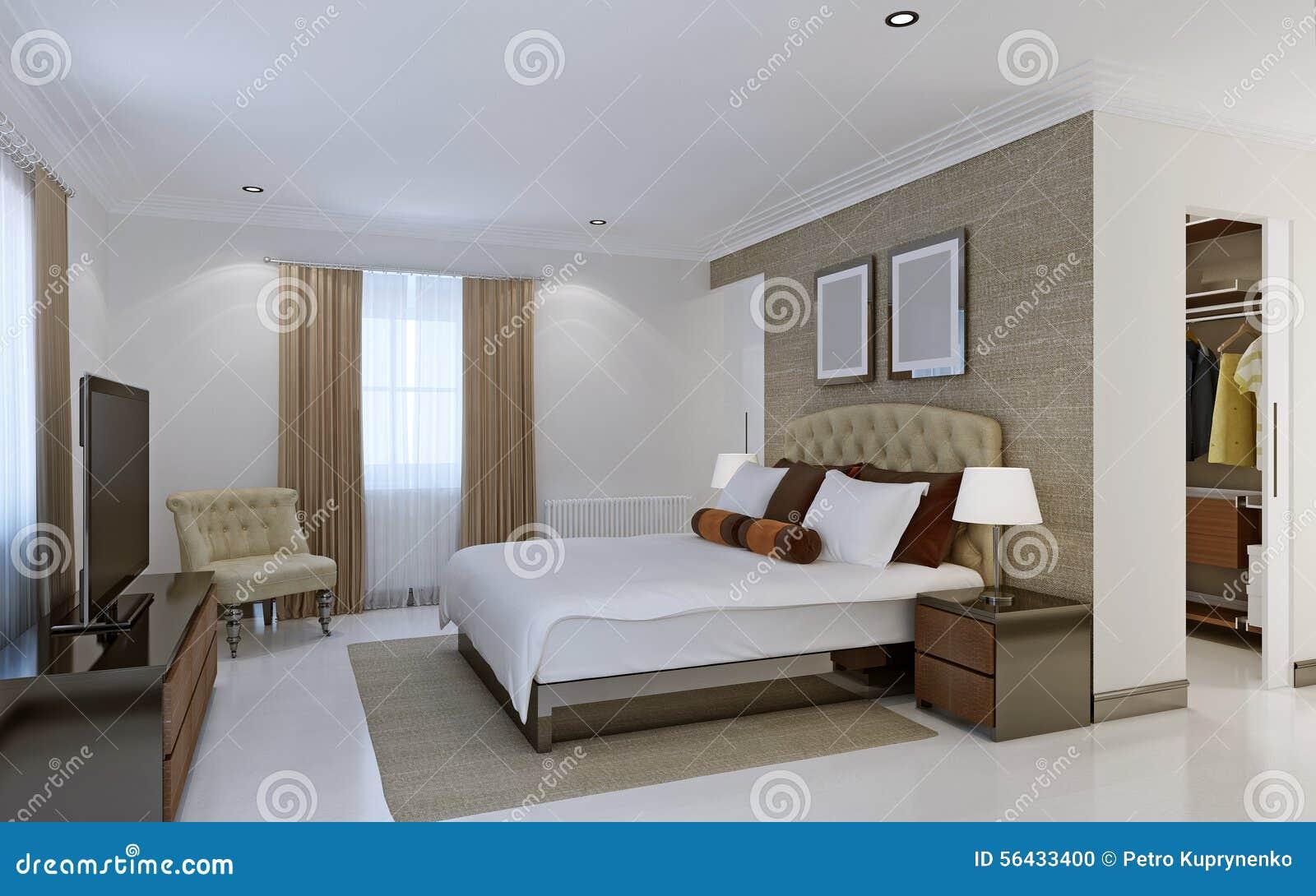 Heldere slaapkamer met kleedkamer stock foto afbeelding