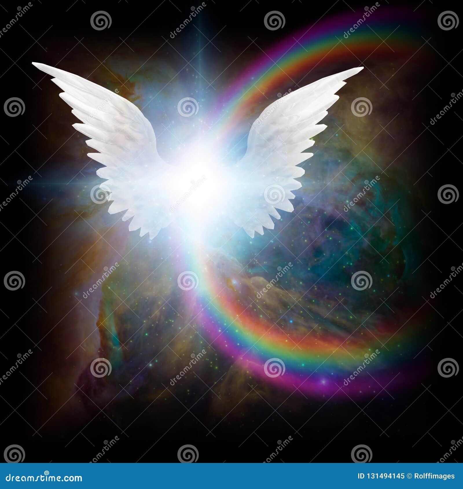 Heldere ster met witte engelen` s vleugels