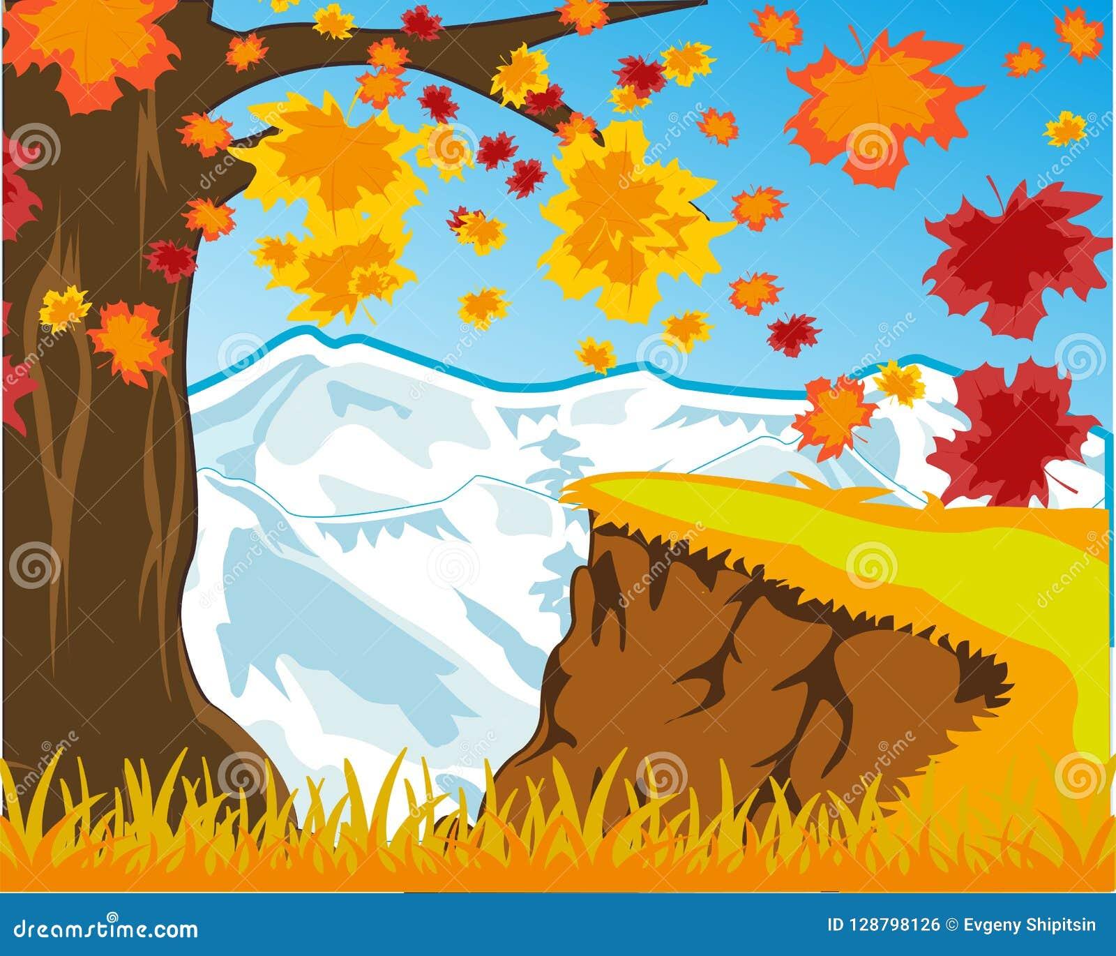 Heldere van de de landschapsherfst en sneeuw bergen Vector illustratie