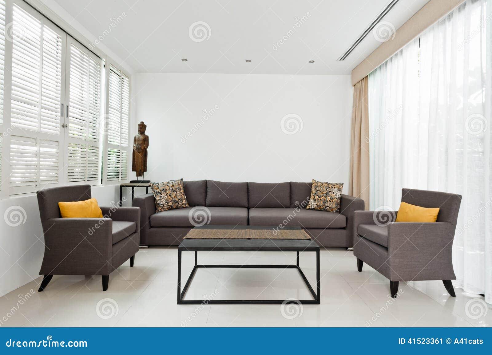 Heldere woonkamer met grijze bank stock afbeelding for Grijze woonkamer