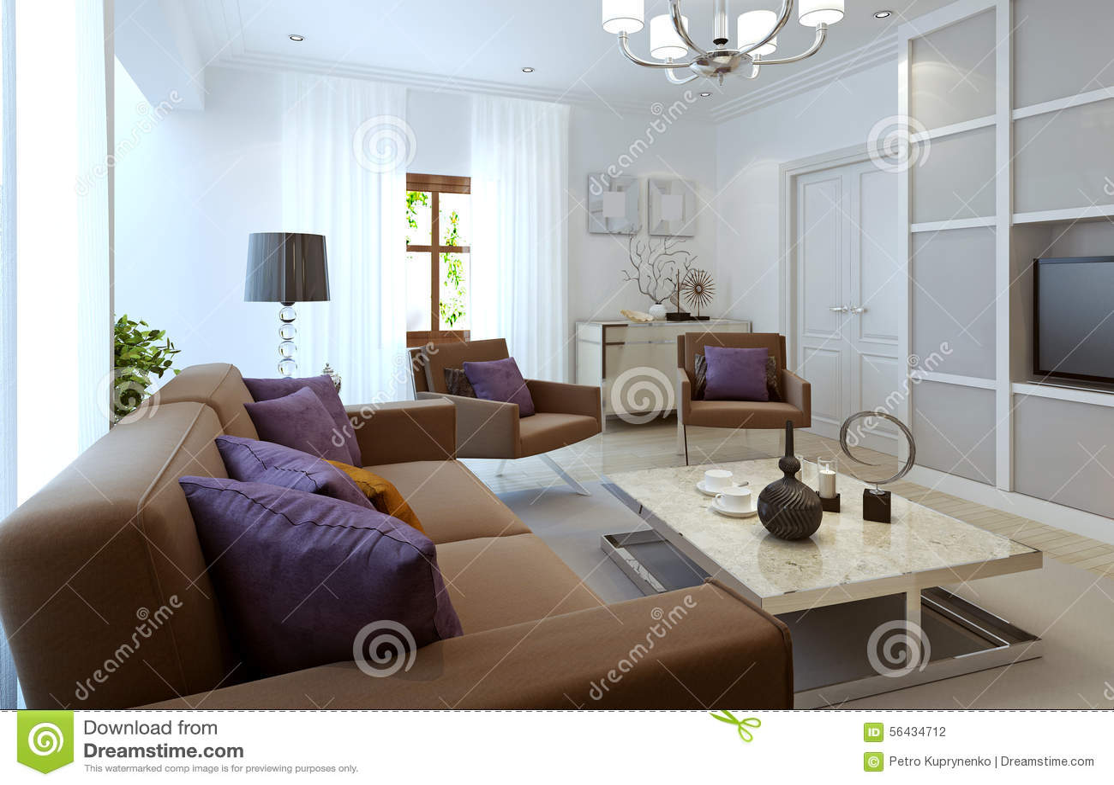 Heldere woonkamer moderne stijl stock foto afbeelding bestaande