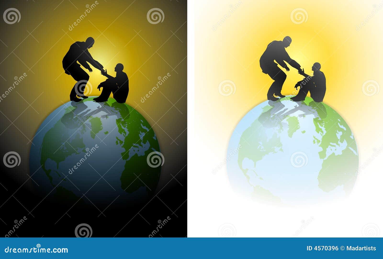 Helfende Handmenschlichkeit-Erde