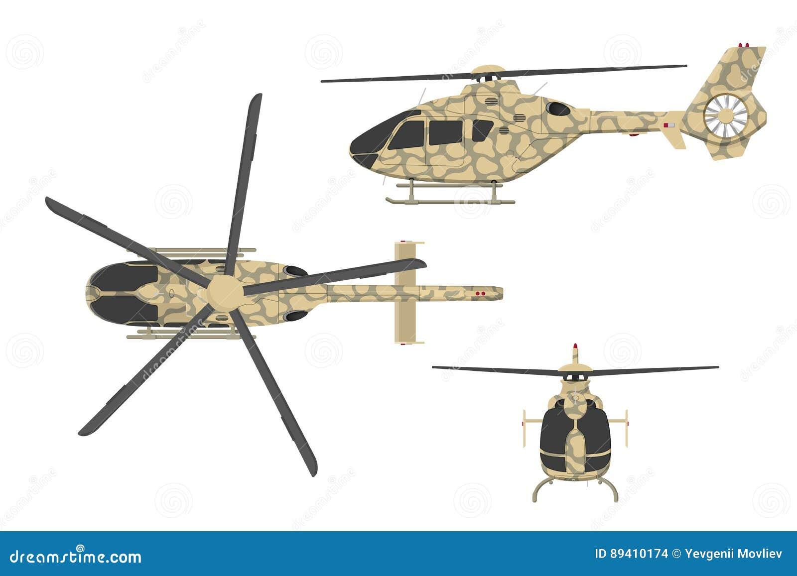 Helicóptero militar no estilo liso no fundo branco Parte superior, lado, vista dianteira Veículo de ar do exército
