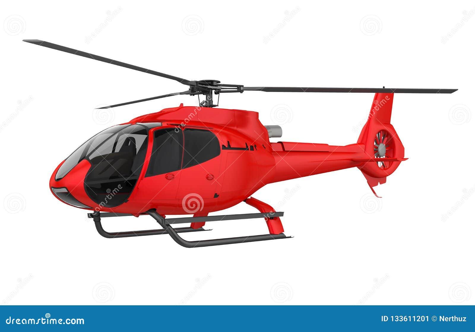Helicóptero rojo aislado