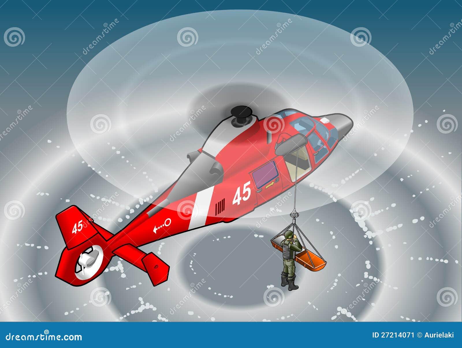 Helicóptero rojo isométrico en vuelo en rescate