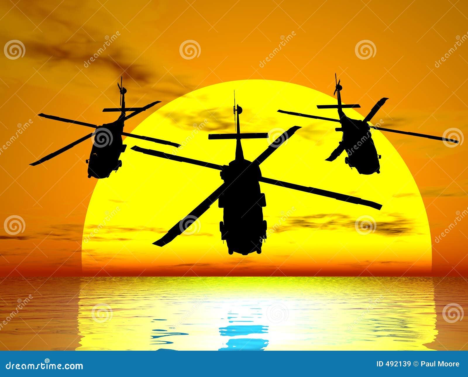 Helicópteros de la puesta del sol