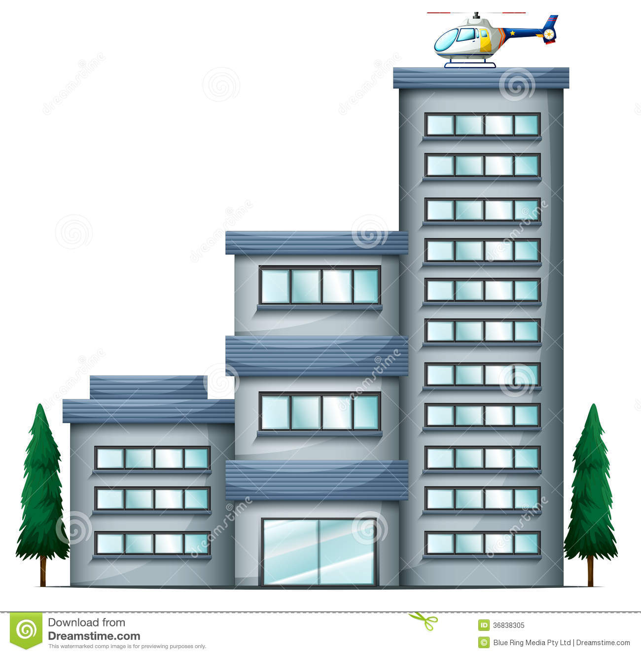 A helicopter above the tall building royalty free stock for 2d building drawing