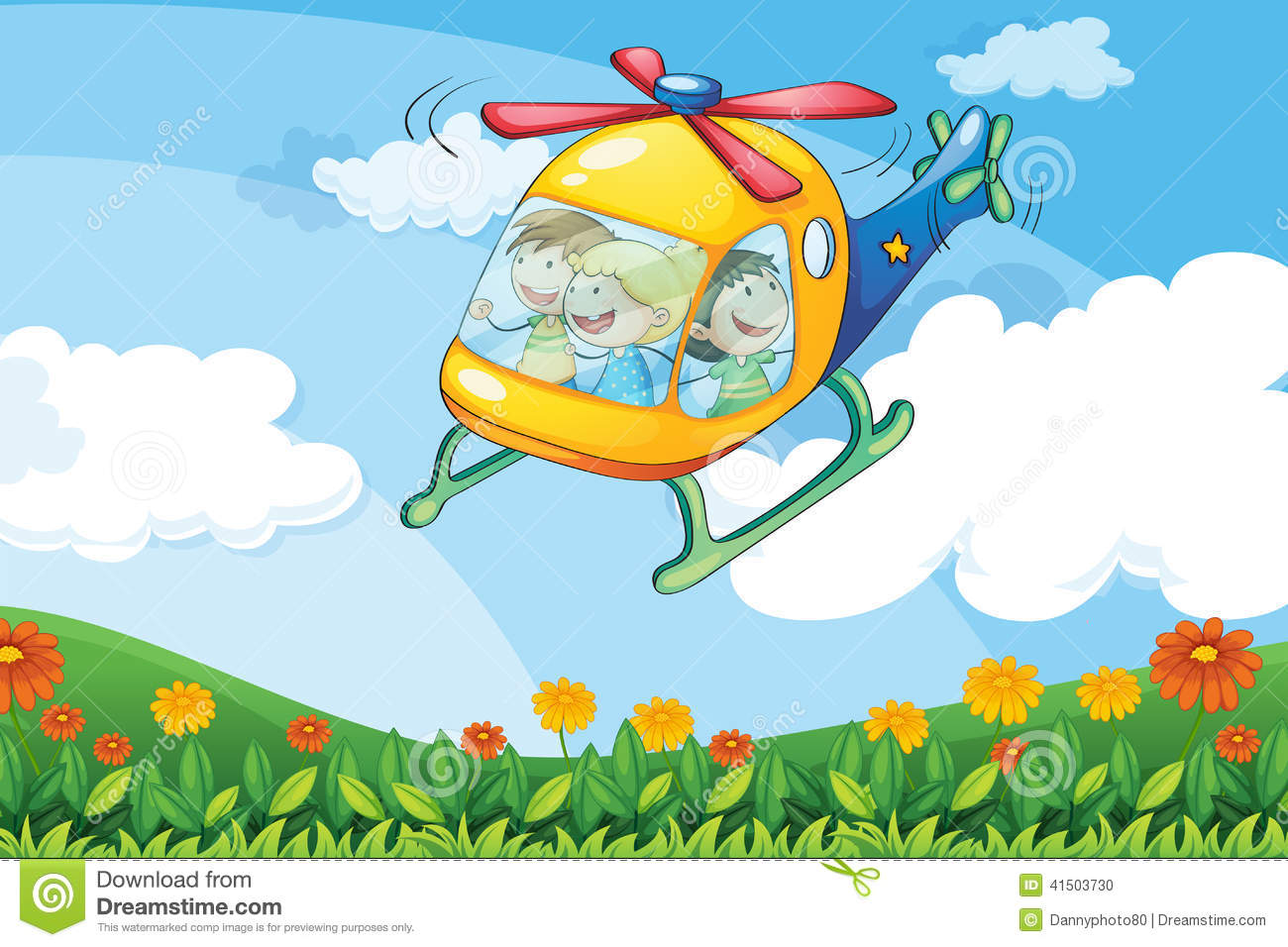 kids in a helicopter stock vector image of female background