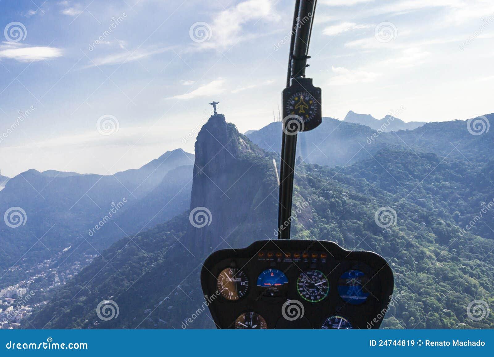 Helicopter Flyover Air View Rio De Janeiro Royalty Free