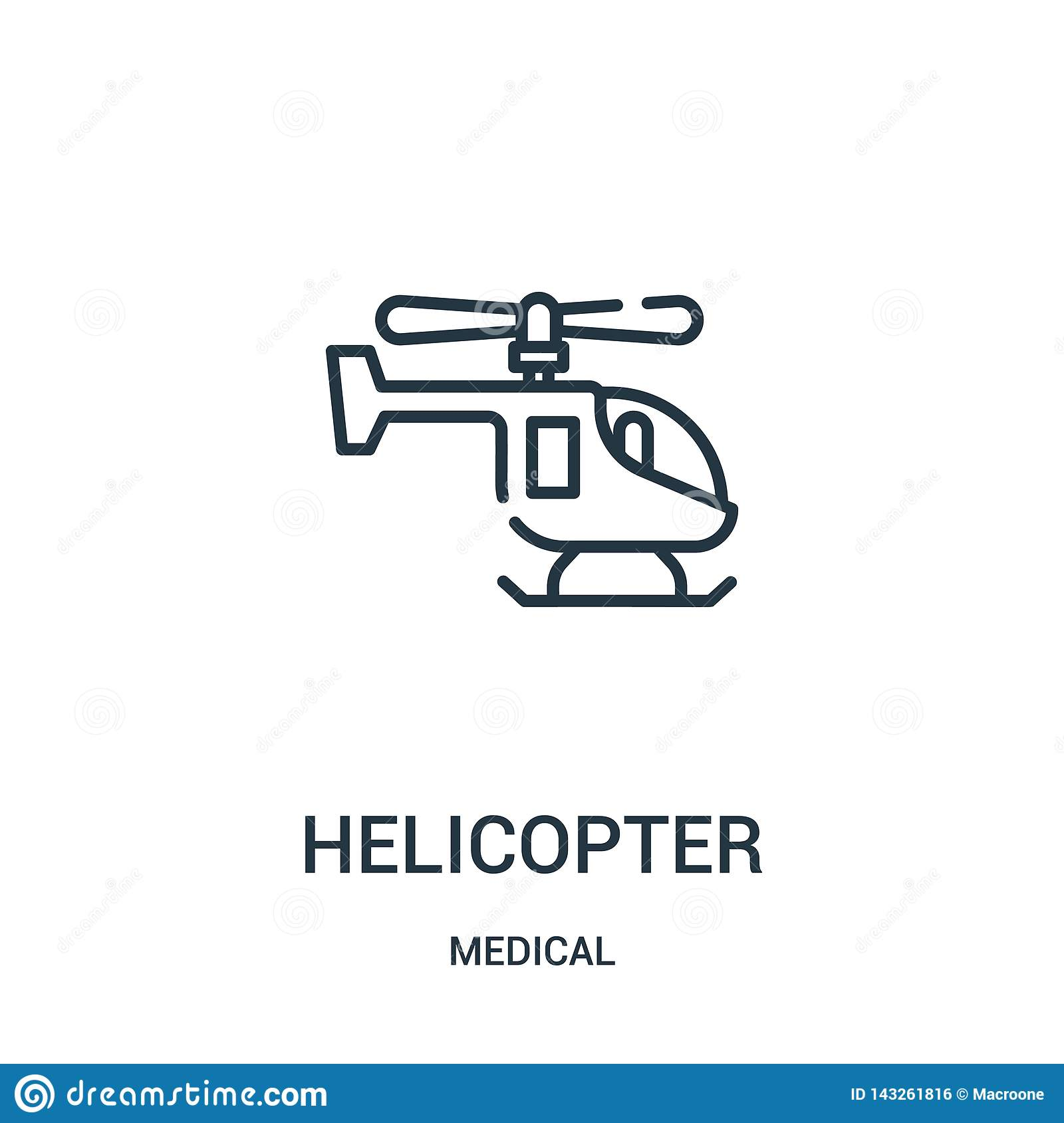 helicopter icon vector from medical collection. Thin line helicopter outline icon vector illustration