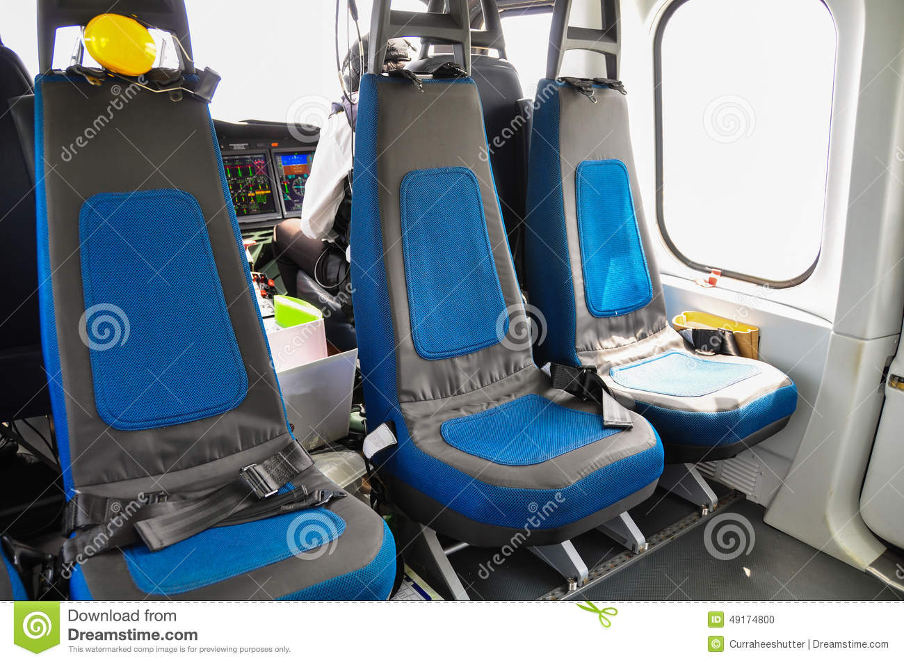 helicopter interior and seat for passenger seat and